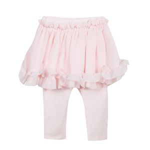 Lili Gaufrette Girl's Pink Skirt with Leggings