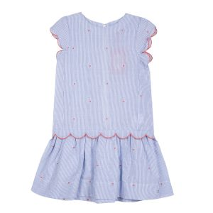 Lili Gaufrette Girl's Blue pin striped dress
