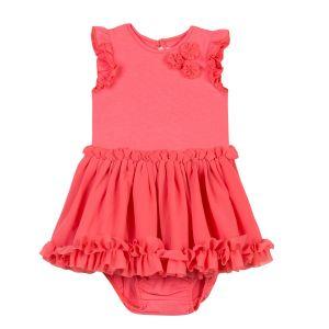 Lili Gaufrette Girl's Coral Pink Dress