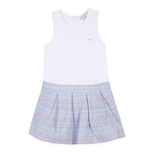 Lili Gaufrette Girl's Pretty White and Blue Dress