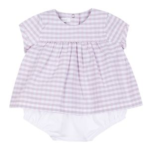 Absorba Baby Girl's Pink And Grey Gingham Dress Set
