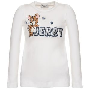 Monnalisa Girls Ivory Cotton Jerry Top