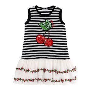 Monnalisa Girls White & Black Cherry Dress