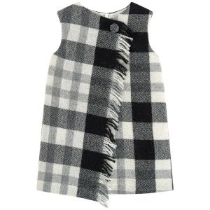Il Gufo Black & Grey Tartan Check Pinafore Dress