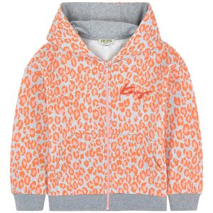 Kenzo Kids Girls Cotton Orange Leopard Print Zip-Up Top
