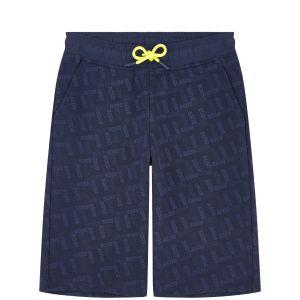 BOSS Kidswear Boys Navy Repeated Raised Logo Shorts