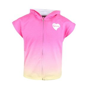 Guess Girls Pink Heart Logo Cotton Hooded Top