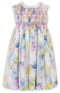 Sarah Louise Girls  Floral Frilled Collared Dress
