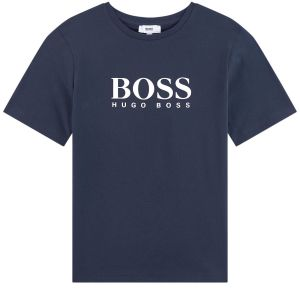 BOSS Kidswear Boys Blue Cotton White Logo T-Shirt