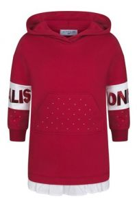 MONNALISA  Girls Red Cotton Diamanté Hooded Dress