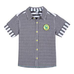 3Pommes Boys Dark Grey and White Cotton Shirt