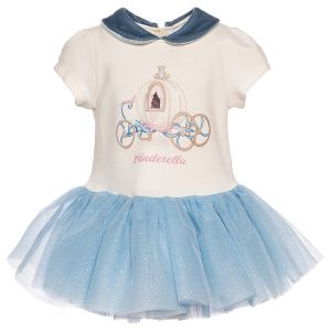 MONNALISA Bebé Cream & Blue Disney Cinderella Dress