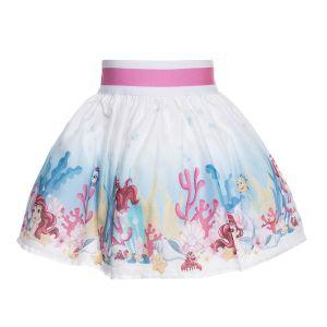 Monnalisa Bebé White Cotton Little Mermaid Print Skirt