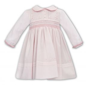 Sarah Louise Pink Hand-Smocked Pleated Collar Cotton Dress