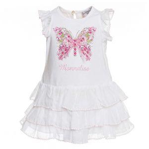 Monnalisa Bebé Girls White Butterfly Cotton Dress