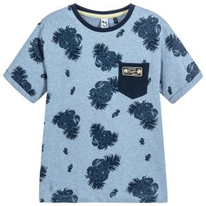 3Pommes Boys Blue Cotton T-Shirt