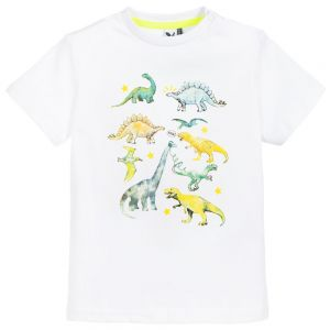 3Pommes Boys White Cotton Dinosaur Print T-Shirt