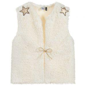 3Pommes Girls Ivory Faux Fur Gilet