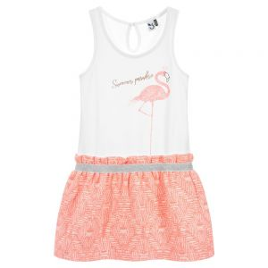 3Pommes Girls Neon Pink & Ivory Flamingo Dress