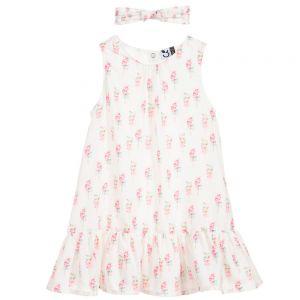 3Pommes Girls White Crêpe Lollipop Dress Set