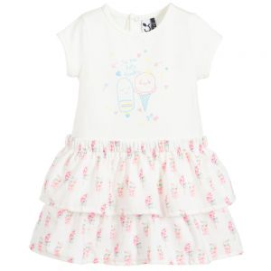 3Pommes Girls White Ice-Cream Dress
