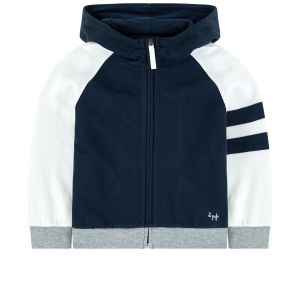 IL Gufo Boy's Navy and White Hooded Zip Up Top