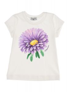 Monnalisa Girls Ivory Cotton Large Flower T-Shirt