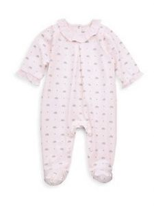 Tartine et Chocolat Girls Pink Hedgehog Cotton Babygrow
