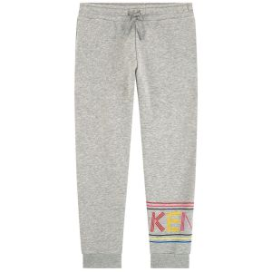 Kenzo Kids Older Girls Grey Cotton Logo Joggers