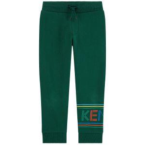 Kenzo Kids Boys Dark Green Cotton Joggers