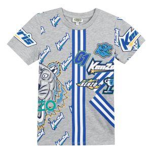 Kenzo Kids Boys Grey Cotton Racing Badge T-Shirt