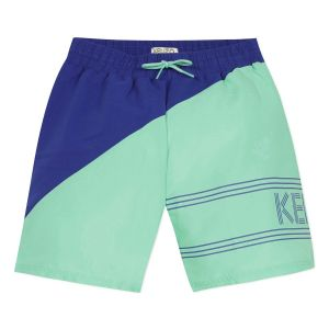 Kenzo Kids Green & Blue Logo Swim Shorts