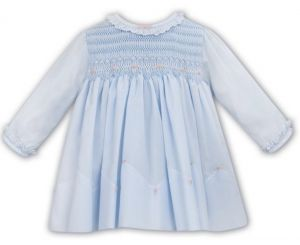 Sarah Louise Blue & Pink Smocked Frilled Collar Dress