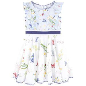 Monnalisa Blue Floral Cotton Dress