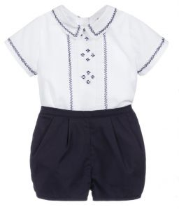 Sarah Louise Boys White & Blue Pintuck Pleated Shorts Set
