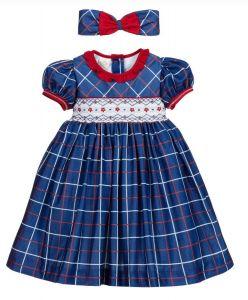 Pretty Originals Blue Smocked Check Dress Set
