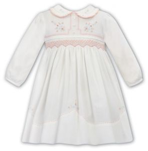 Sarah Louise Ivory & Peach Hand-Smocked Pleated Collar Cotton Dress