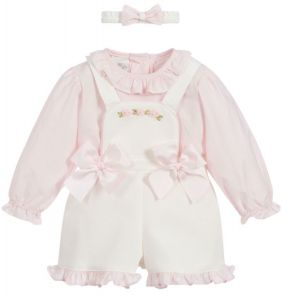Pretty Originals Pink & Ivory Dungarees Set