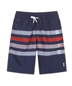 BOSS Kidswear Navy Blue Striped Logo Swim Shorts