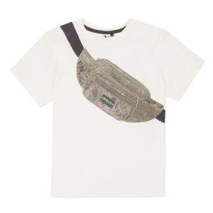 3Pommes Boys White Cotton Belt Bag T-Shirt