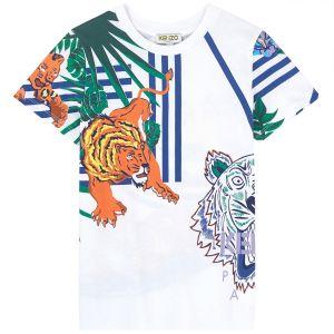 Kenzo Kids Boys White Hawai TIGER T-Shirt