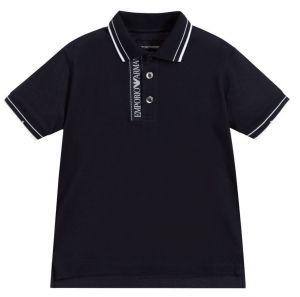 Emporio Armani Blue Cotton Piqué Polo Shirt