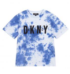 DKNY Blue Tie Dye Logo T-Shirt
