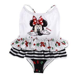 Monnalisa White & Black Minnie Mouse Disney Swimsuit