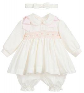 Pretty Originals Ivory Smocked Pink Bow Dress Set