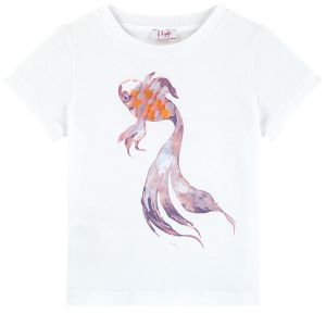 Il Gufo Girls White Cotton Fish T-Shirt