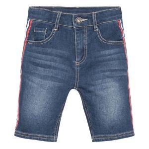 3Pommes Boys Blue Cotton Striped Tape Denim  Shorts