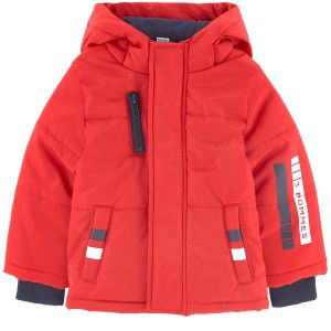 3Pommes Boys Red Fleeced-Lined Padded Coat