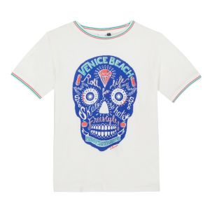 3Pommes Boys Ivory Cotton Skull Print T-Shirt