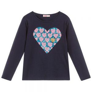 BILLIEBLUSH Girls Blue Heart Cotton Top